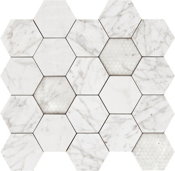 340X360 HEXAGON APUANIAN WHITE LEV